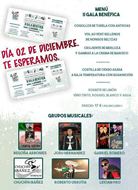 cartel menu 2 gala benefica